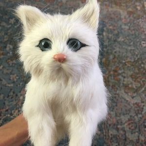 White Real Rabbit fur Cat figure